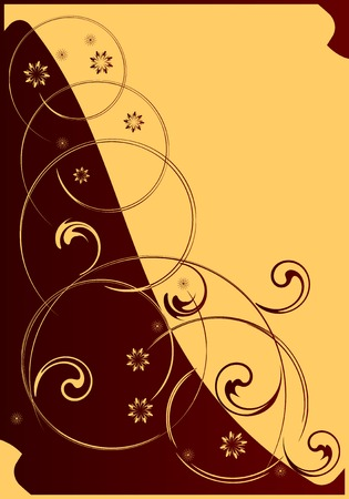 frizz: Floral decorative pattern on a red and yellow background.As a postal, or congratulation.Vectorial illustration.