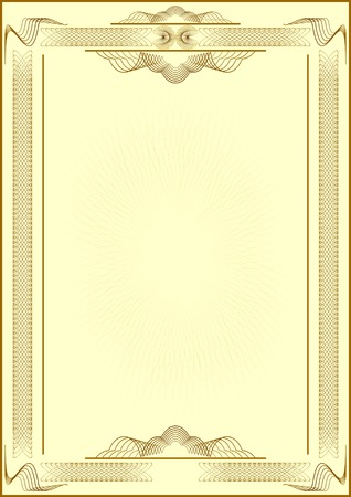 Patterned form of certificate.Light yellow background.Vectorial illustration.