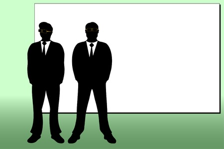 spectacled: Men spectacled and white background for inscriptions on a green background.Vectorial illustration. Illustration