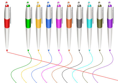 Varicoloured fountain-pens draw varicoloured lines.All of it takes place on a white background.Vectorial illustration.
