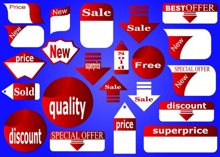 Stickers of point-of-sale pointers on a dark blue background.Vectorial illustration. Stock Vector - 6339269
