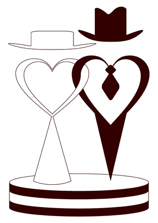 Symbolical silhouettes of fiance and fiancee on a white background.Vectorial illustration.