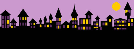sleeps: Outlines of city at dawn.Proud sleeps yet.Vectorial illustration.