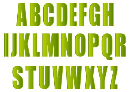 translated: Alphabet, consisting of green letters.Vectorial illustration, translated in a raster. Stock Photo