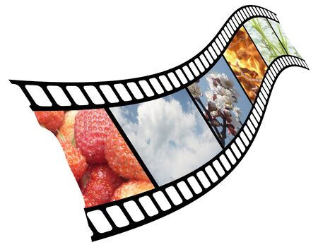 incorporated: Different elements and plants on a movie film.On illustration the graphic are incorporated and photo of image. Stock Photo