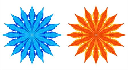 beautifu: Stars or snowflakes from a fire and water on a white background.Vectorial illustration is translated in a raster. Stock Photo