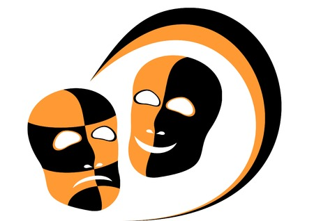 distressing: Two masks are expressed by distressing and merriment.Located on a white background.