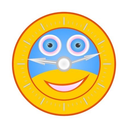 circumference: The coloured clock represent a merry clown.Isolated object on a white background.