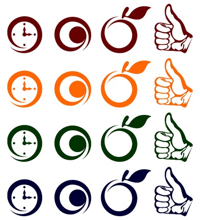 Different icons of different color on a white background.Vectorial illustration.