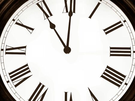 circumference: Picture of old clock by a large plan.Image in a color sepia.