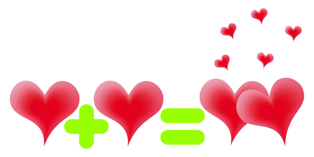 addition: Red hearts on a white background.Simple mathematical task on addition. Illustration