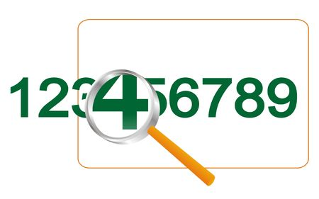 translated: Numbers under magnifying glass on a white background.Vectorial illustration is translated in a raster.
