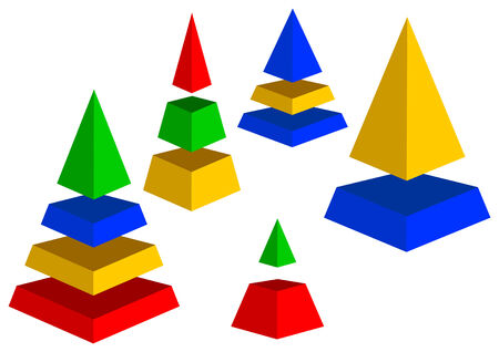 few: A few pyramids are on a white background.Pyramids of different color and size.