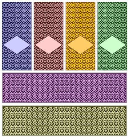 stiker:  Complete set from five decorative backgrounds.Their difference is in a color.