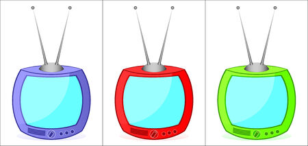 Three old varicoloured television sets on a white background. Stock Vector - 6924838
