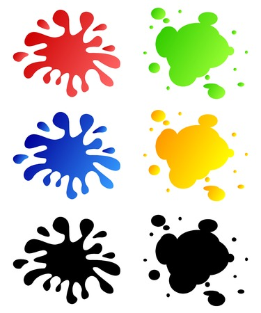 Set from different blots on a white background.Blots of different color. Illustration