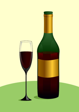 flowed: Bottle and glass with red wine on a green table.