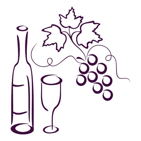Bottle of wine, glass and cluster of vine on a white background. Illustration