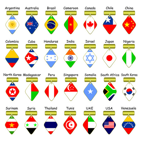Icons of flags of different countries on a white background.The flags of different continents are presented. Vector