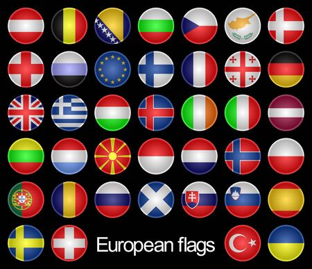 alphabetical order: Complete set of the buttons as flags of the European countries on a black background.Marks are located in alphabetical order.
