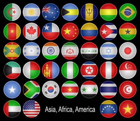 alphabetical order: Buttons as flags of different countries.Asia, Africa, America and Australia, is presented.Located in alphabetical order.