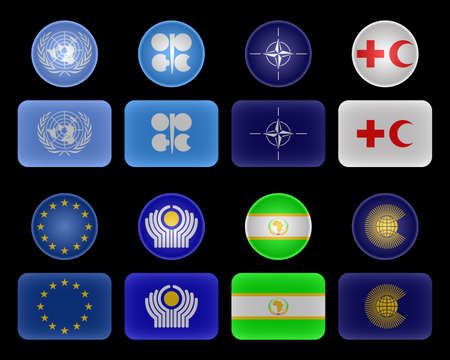 coalition: Flags of different unions and organizations.United Nations,OPEC,NATO,Red Cross and Red Crescent,EU,CIS,African Union,Commonwealth of Nations.Located on a list. Stock Photo