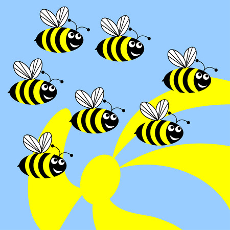Dig bees flies to collect pollen from flowers.Funny merry bees. Illustration