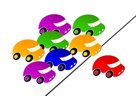 Kleurrijke auto's achtervolgden de rode auto. Rode auto leider.
