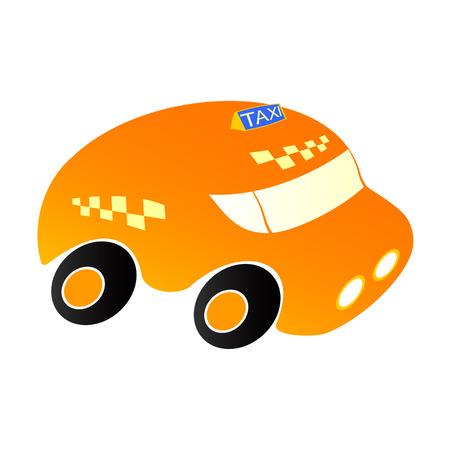 Taxi car on a white background.Car artificial orange colour. Vectores