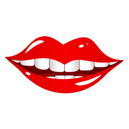 lips smile: Bright red lips on a white background. The mouth comical and cheerfully smiles.