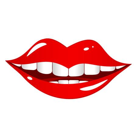 lip shine: Labbra rosso brillante su uno sfondo bianco. Bocca comico e allegramente sorrisi.