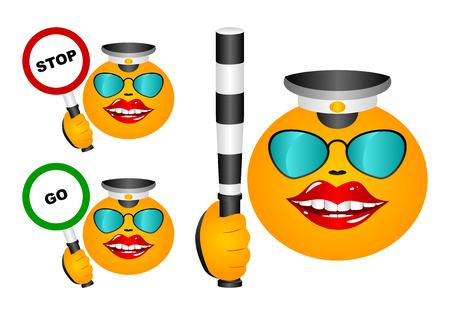 The cheerful traffic controler in three kinds. With a stick and signs on feet also go. Are on a white background. Vector