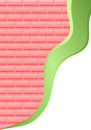 curvature: The abstract background consisting of pink bricks and a green volume strip. Illustration