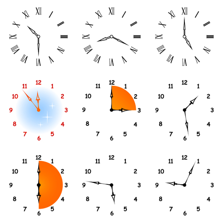 show time: Set of different icons of hours. A whole hours show different time. Illustration