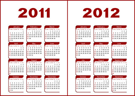Calendar for 2011,2012.Red  letters and figures on a white background.