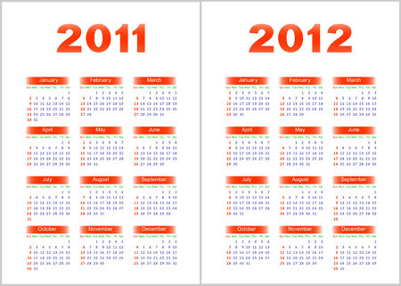 breadboard: Calendar for 2011,2012.Red and blue letters and figures on a white background. Illustration
