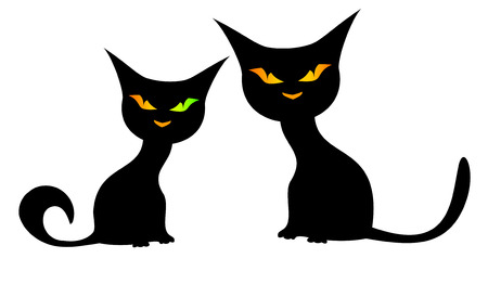 Two black cats on a white background. One cat with different eyes. Çizim