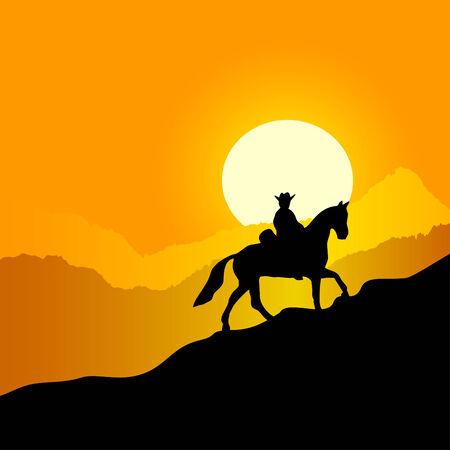 Paisaje de montaña de la tarde. El jinete solitario contra una puesta de sol en las montañas.