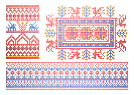 The complete set of patterns similar to an ancient russian ornament. Vector