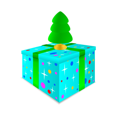 furtree: Colourful box with a gift on a white background. On a box there is a green fur-tree.