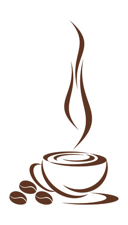 steaming: In drawing the cup from coffee is represented. Three grains nearby lie. It is all on a white background.