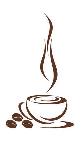 chicchi di caff�: Nel disegno � rappresentata la tazza da caff�. Tre cereali nelle vicinanze della menzogna. � tutto su uno sfondo bianco.