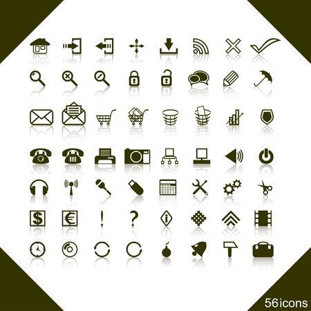 completato: Il set completo di icone web su uno sfondo bianco. Icone di diversi soggetti entrano in un set.