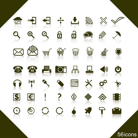 complete: The complete set of web icons on a white background. Icons of different subjects enter into a set.