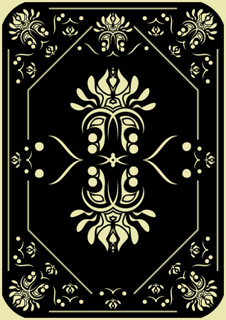Decorative pattern on a black background. The back party of a playing card.