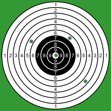 The raked target on a green background.