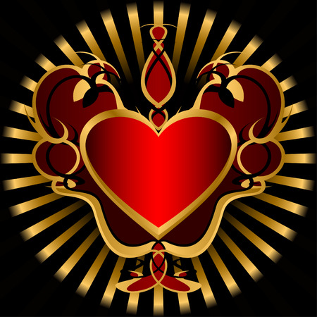 Red heart in a golden ornament on a black background. Vector