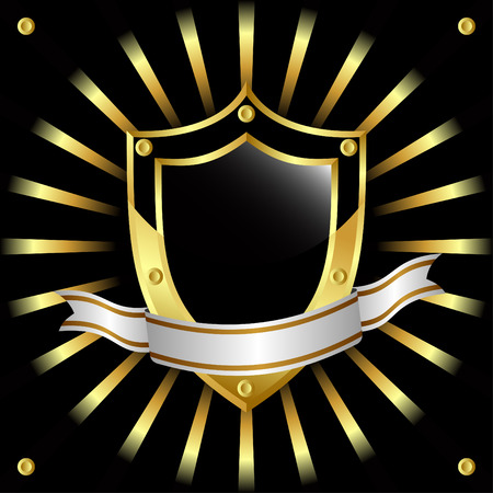 Black and gold shield on a black background. Stock Vector - 8499911