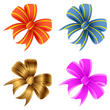 Set of bows on a white background. Bows of different color.