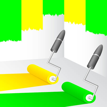 Walls painting in yellow and green color. Vector